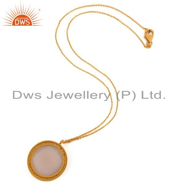 Suppliers 18K Gold On Sterling Silver Rose Chalcedony Gemstone Prong Set Pendant Necklace
