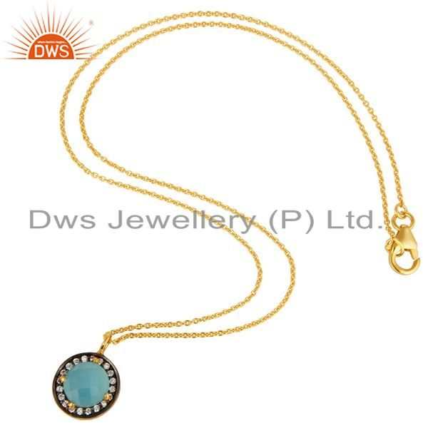 Suppliers 18K Gold Plated Sterling Silver Blue Chalcedony And CZ Pendant With 16