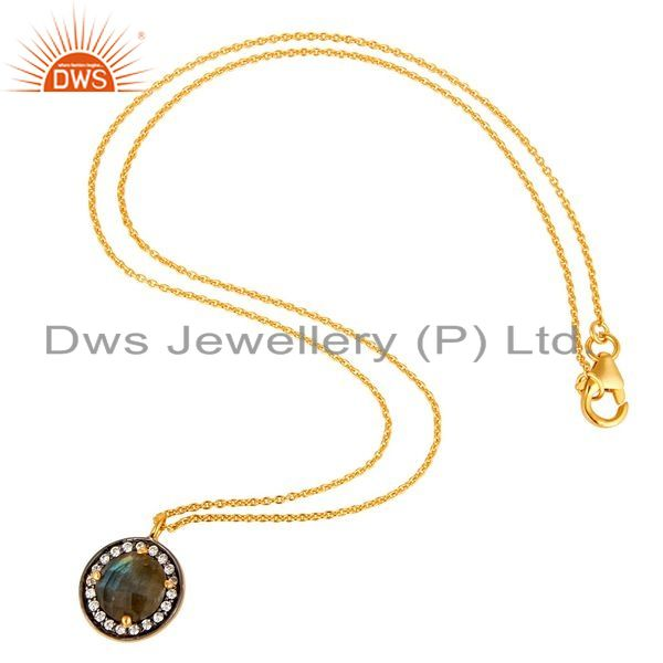 Suppliers Labradorite And CZ Yellow Gold Plated Sterling Silver Pendant with 16