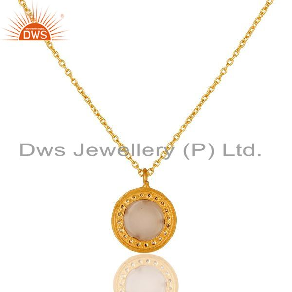Suppliers 22K Gold Plated 925 Sterling Silver Pave CZ & Rose Chalcedony Pendant Chain