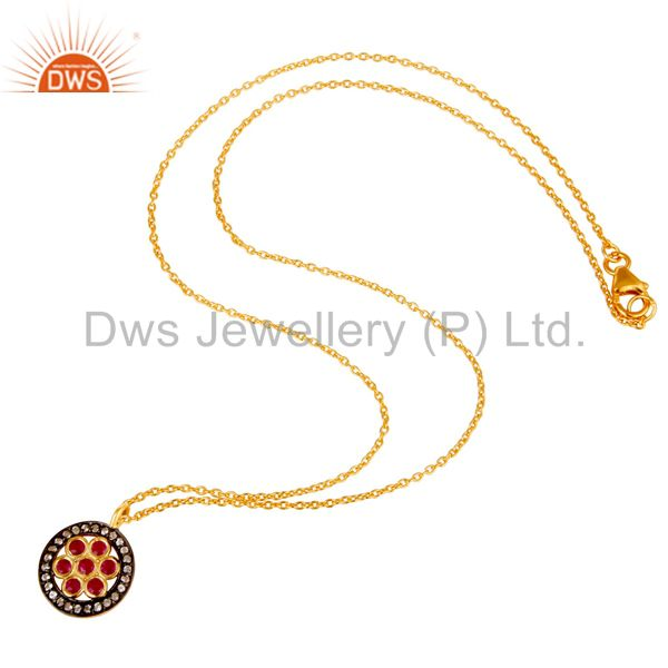 Suppliers White Topaz & Ruby Gemstone Oxidized 925 Sterling Silver Pendant Necklace
