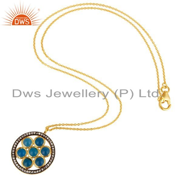 Suppliers 18K Gold Plated Sterling Silver Blue Chalcedony And CZ Circle Pendant With Chain