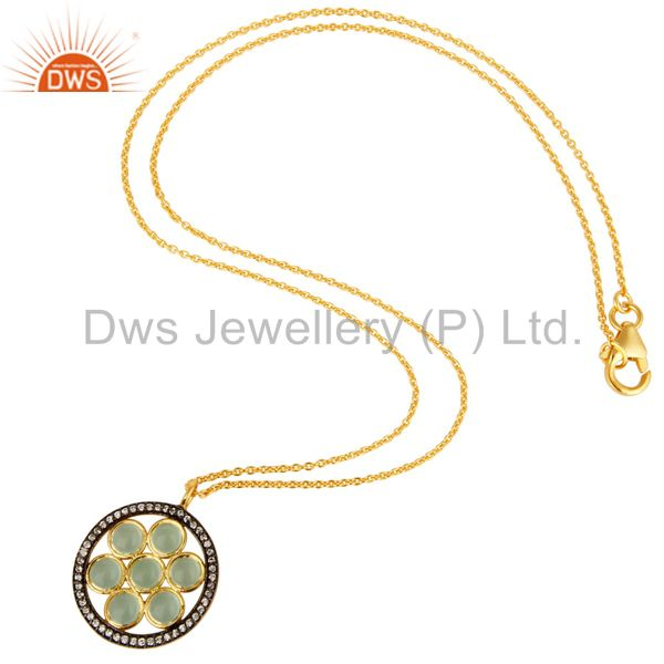 Suppliers 18K Gold Plated Sterling Silver Aqua Blue Glass And CZ Fashion Pendant With Chai