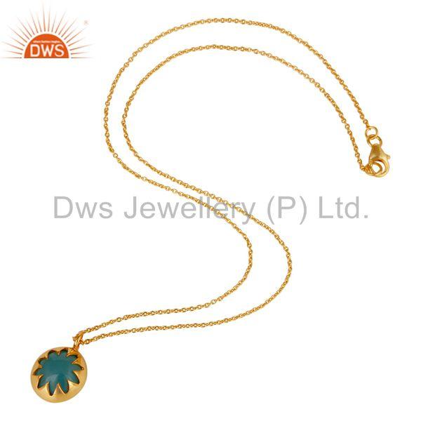 Suppliers Designer Blue Chalcedony Sterling Silver Necklace Pendant 18K Yellow Gold Plated