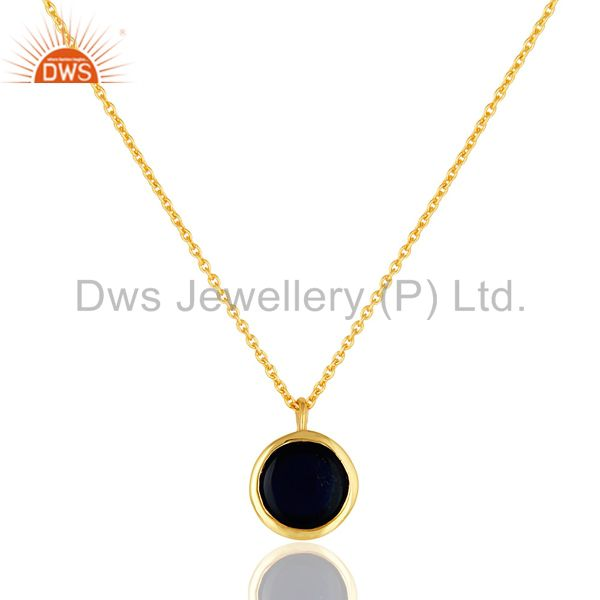 Suppliers 14K Gold Plated Sterling Silver Blue Corundum Designer Pendant With Chain