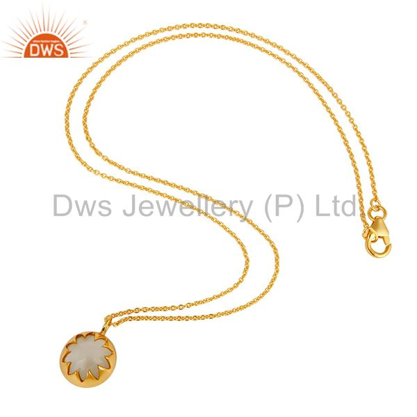 Suppliers White Moonstone Sterling Silver Designer Pendant Necklace With Gold Plated