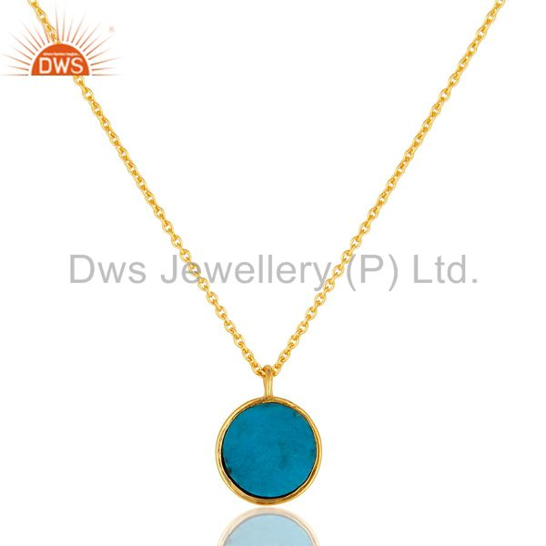 Suppliers Designer Turquoise Gemstone Pendant Made In 18K Gold Over Sterling Silver