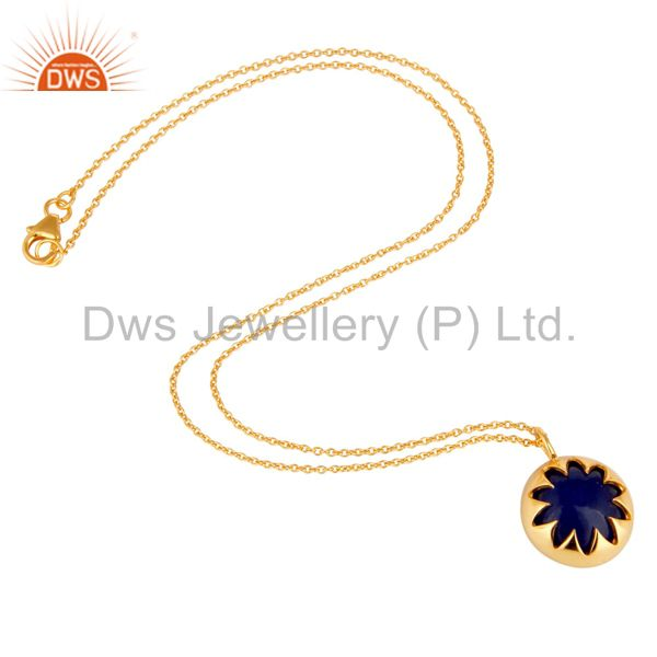 Suppliers 18K Yellow Gold Plated Sterling Silver Blue Aventurine Drop Pendant With Chain