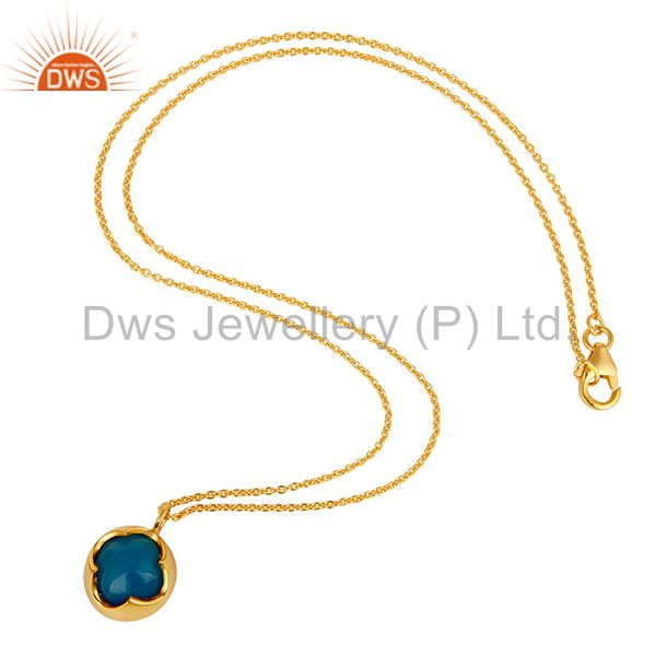 Suppliers Dyed Blue Chalcedony Gemstone Sterling Silver Pendant With Chain - Gold Plated