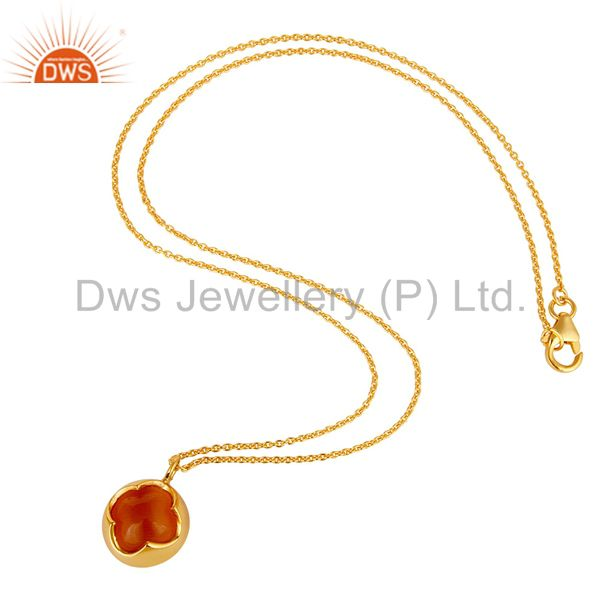 Suppliers Peach Moosntone Sterling Silver WIth Yellow Gold Plated Pendant With Chain