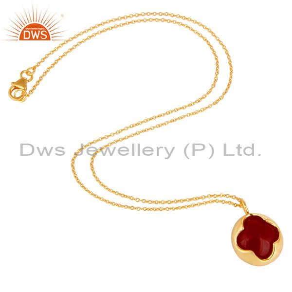 Suppliers 18K Yellow Gold Plated Sterling Silver Red Aventurine Designer Pendant Necklace