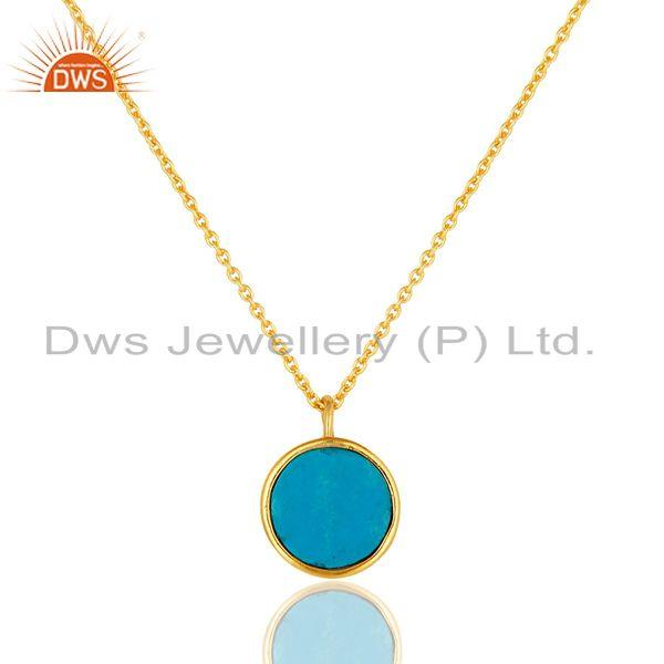 Suppliers 14K Gold Plated Sterling Silver Blue Turquoise Designer Pendant With Chain