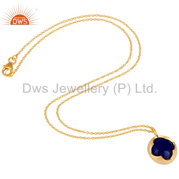 Suppliers 18K Yellow Gold Plated Sterling Silver Blue Aventurine Designer Pendant Necklace