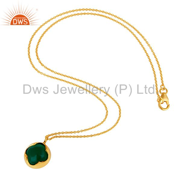 Suppliers 18K Yellow Gold Over Sterling Silver Green Onyx Designer Pendant