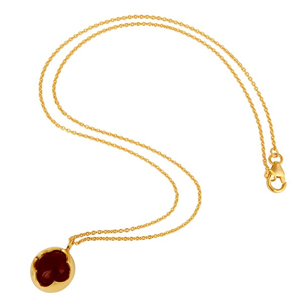 Suppliers Natural Red Onyx Sterling Silver Designer Pendant Necklace - Yellow Gold Plated