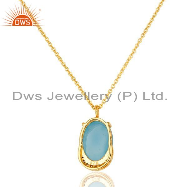 Suppliers 14K Gold Plated Sterling Silver Blue Chalcedony Designer Pendant With Chain