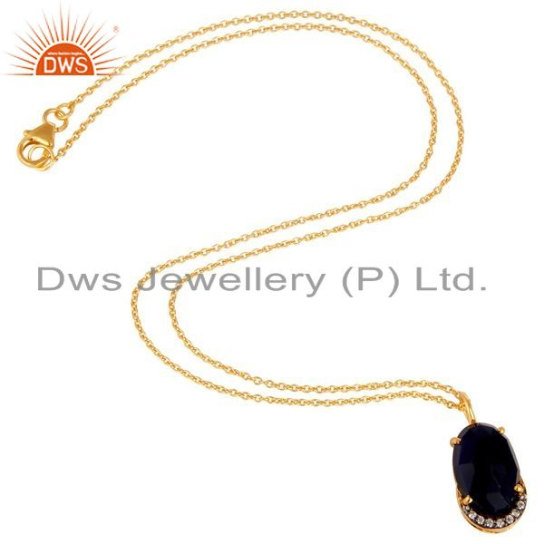 Suppliers 18K Yellow Gold Plated Sterling Silver Blue Corundum And CZ Pendant With Chain
