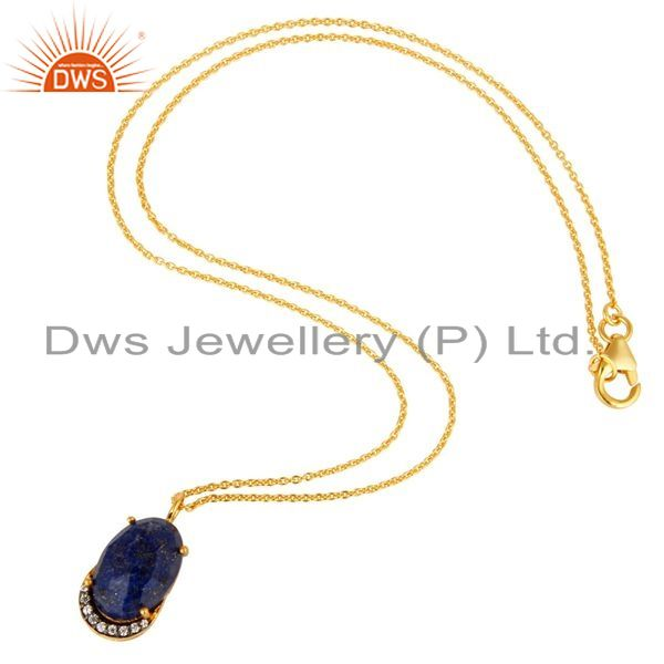 Suppliers 18K Yellow Gold Plated Sterling Silver Lapis Lazuli And CZ Pendant With Chain