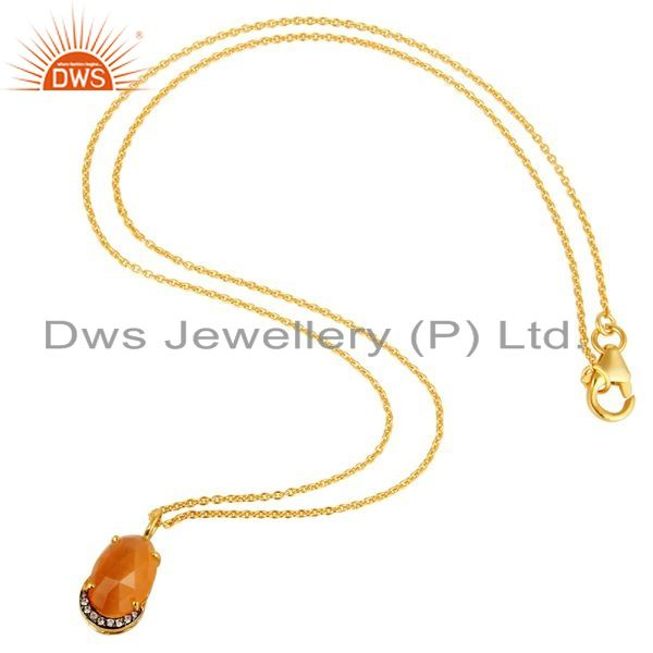 Suppliers 14K Yellow Gold Plated Sterling Silver Peach Moonstone And CZ Pendant With Chain
