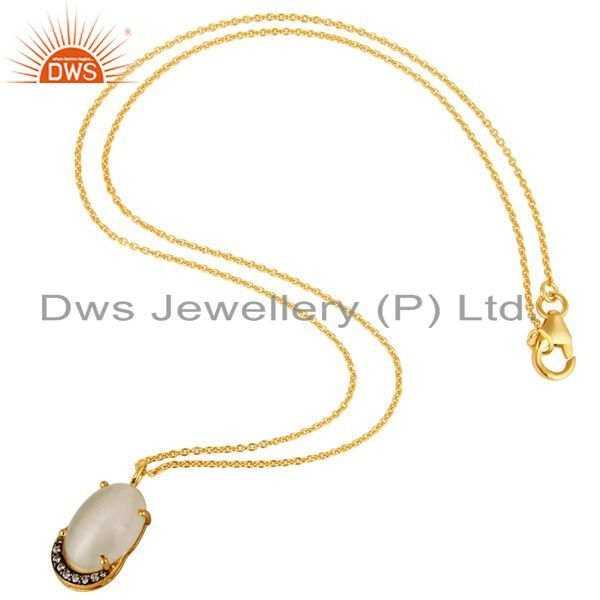 Suppliers 14K Gold Plated Sterling Silver Prong Set White Moonstone And CZ Pendant Chain