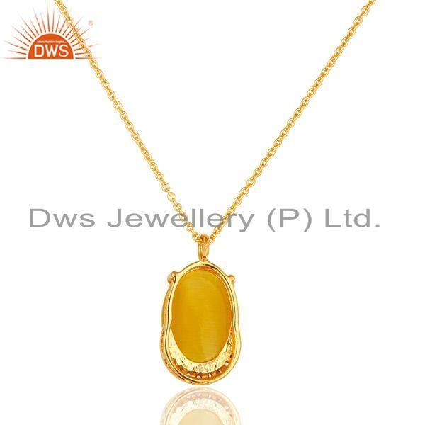 Suppliers 14K Gold Plated Sterling Silver Yellow Moonstone Designer Pendant With Chain