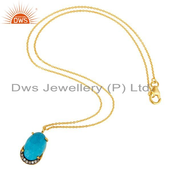 Suppliers Turquoise & Cubic Zirconia Designer Pendant Made In 18K Gold On Sterling Silver
