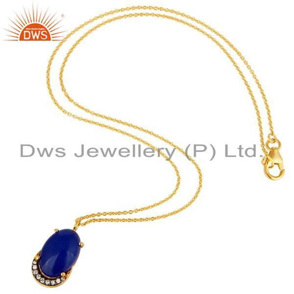Suppliers 18K Gold Plated Sterling Silver Blue Aventurine And CZ Pendant Necklace