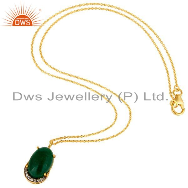 Suppliers Prong Set Green Aventurine & CZ 18K Gold Plated Sterling Silver Pendant Necklace