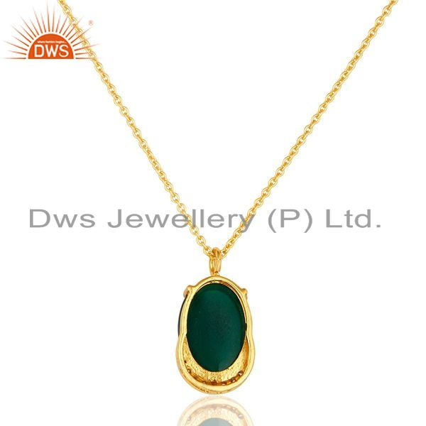 Suppliers 14K Gold Plated Sterling Silver Green Onyx Designer Pendant With Chain