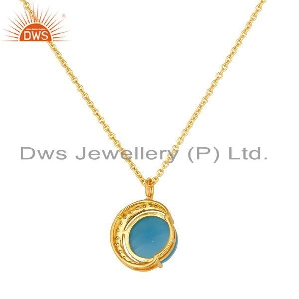 Suppliers 14K Gold Plated Sterling Silver Blue Chalcedony Half Moon Pendant With Chain