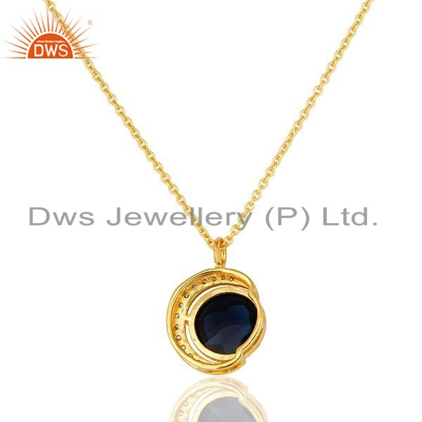 Suppliers 14K Gold Plated Sterling Silver Blue Corundum Half Moon Pendant With Chain