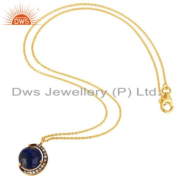 Suppliers Lapis Lazuli And CZ 18K Gold Over Sterling Silver Crescent Moon Pendant Chain