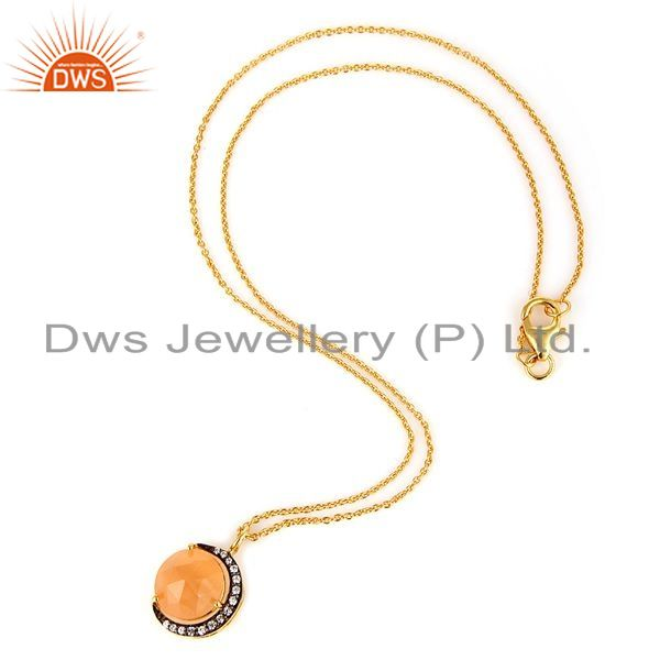 Suppliers Gold Plated Silver Peach Moonstone And CZ Half Moon Design Pendant With Chain