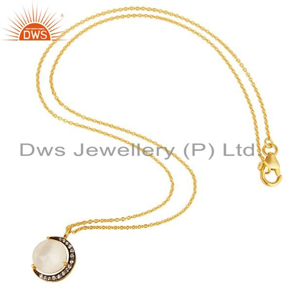 Suppliers White Moonstone And CZ 18K Gold on Sterling Silver Crescent Moon Pendant Chain