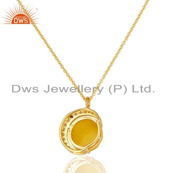 Suppliers 14K Gold Plated Sterling Silver Yellow Moonstone Half Moon Pendant With Chain