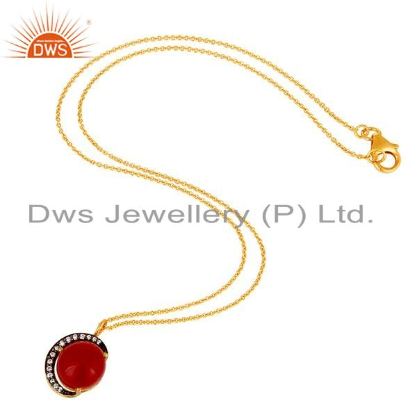 Suppliers 22K Yellow Gold Plated Sterling Silver Red Aventurine And CZ Pendant Necklace