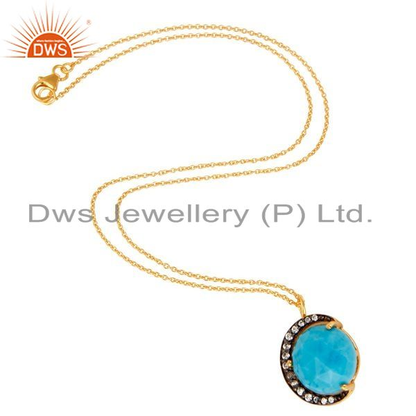 Suppliers 14K Gold Plated Sterling Silver CZ And Turquoise HAlf Moon Pendant With Chain