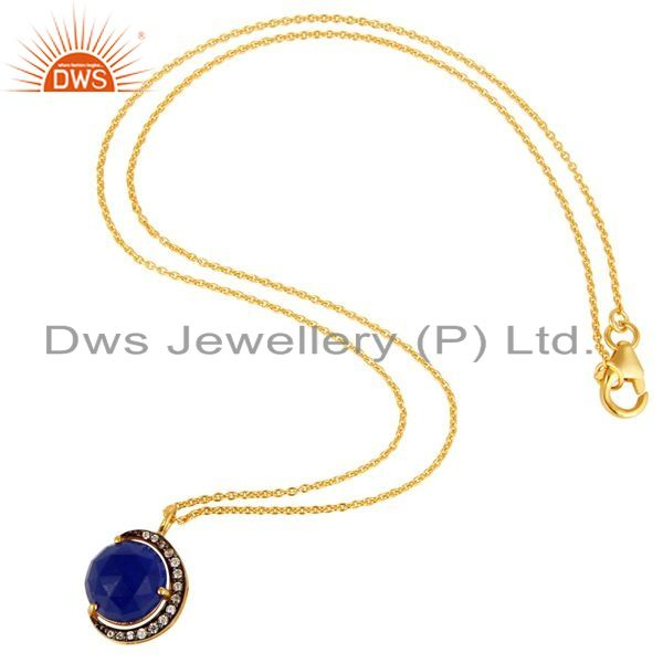 Suppliers 18K Gold On Sterling Silver Blue Aventurine And CZ Half Moon Pendant With Chain