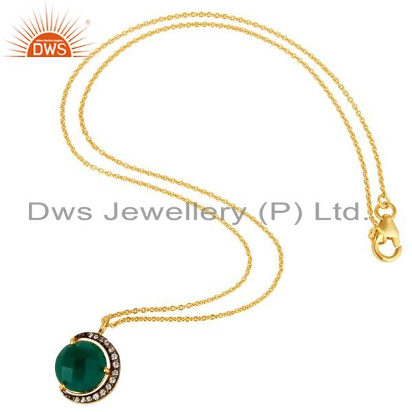 Suppliers Green Onyx & CZ 18K Gold Plated Sterling Silver Half Moon Pendant With Chain