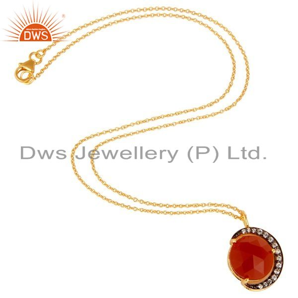 Suppliers 18K Yellow Gold Plated Sterling Silver Red Onyx And CZ Half Moon Pendant Chain