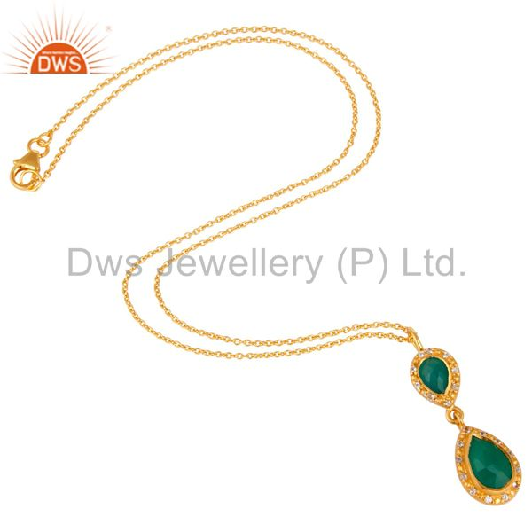 Suppliers Green Onyx and White Topaz 18K Gold PLated Sterling Silver Gemstone Necklace