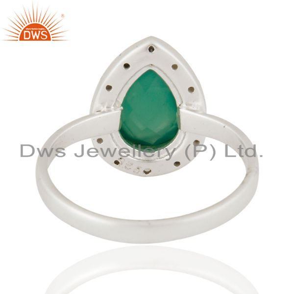 Suppliers Handmade 925 Sterling Silver Natural Green Onyx Gemstone Ring With White Zircon
