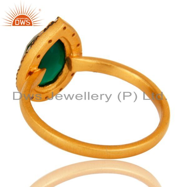 Suppliers 18K Yellow Gold Plated Sterling Silver Green Onyx And CZ Stackable Ring