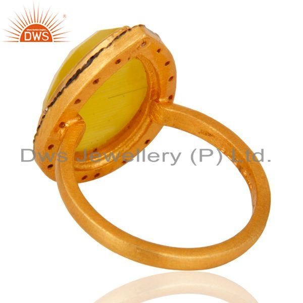 Suppliers 925 Sterling Silver Yellow Moonstone Gemstone Jewelry Ring With 24K Gold Plated