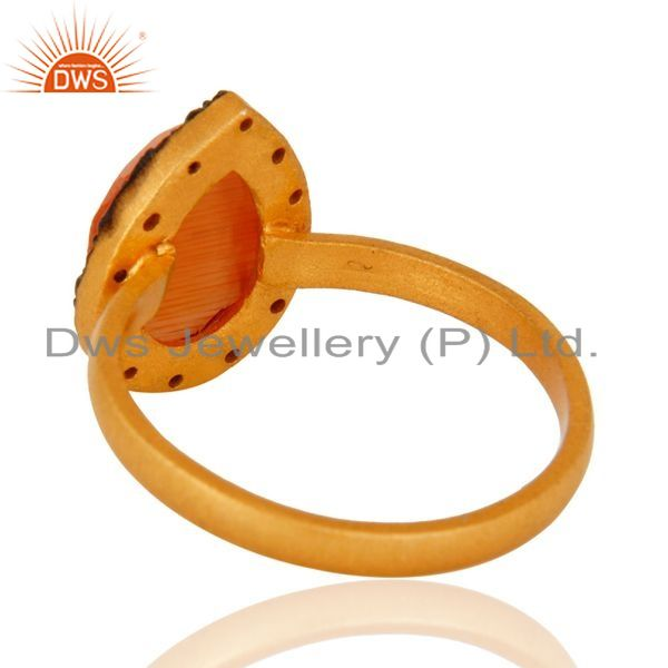 Suppliers Handmade 22K Gold Plated Sterling Silver Peach Moonstone Ring With CZ