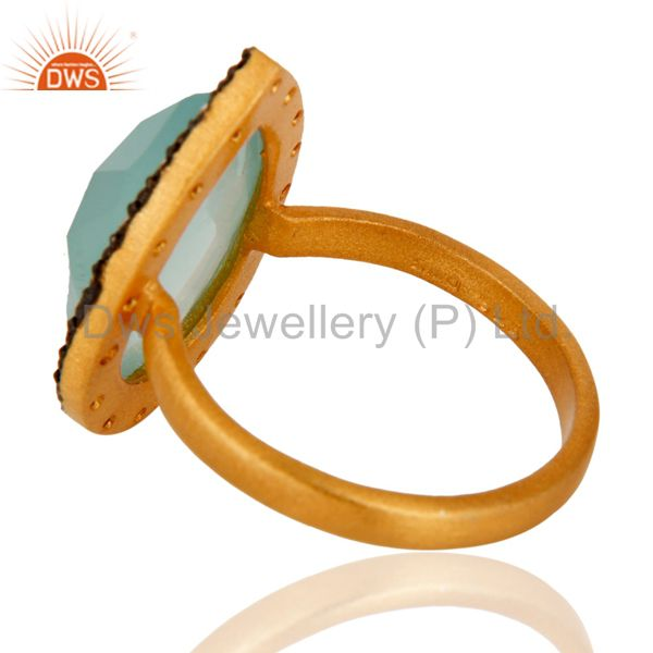 Suppliers Handmade 925 Sterling Silver Blue Aqua Glass Gemstone Ring With Gold Plated