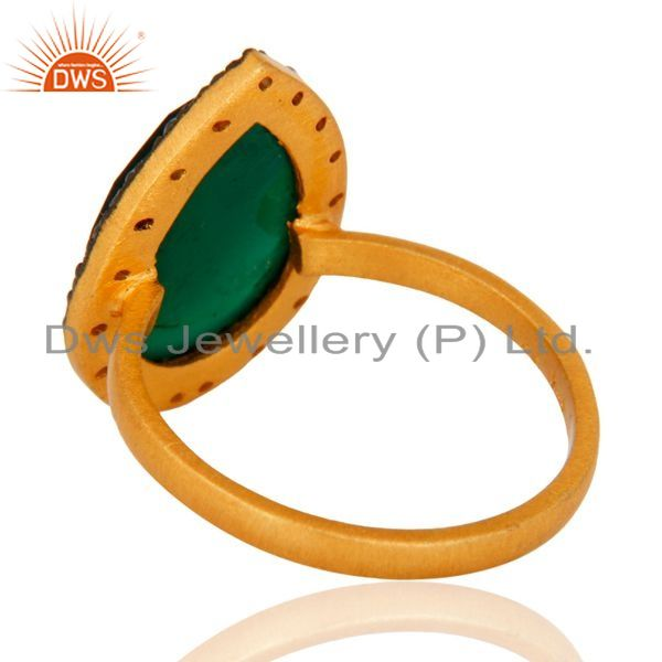 Suppliers Handmade 18k Gold Plated Sterling Silver Green Onyx Gemstone Ring With CZ