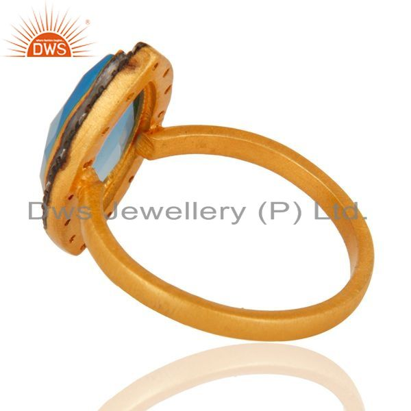Suppliers Designer Gold Plated Sterling Silver Blue Chalcedony Gemstone Ring With cz