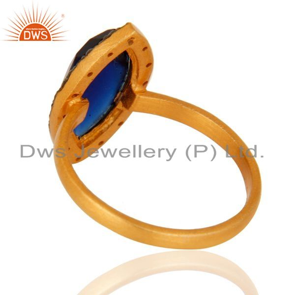 Suppliers Blue Corundum Womens Fashion Ring With CZ Made In 14K Gold Over Sterling Silver