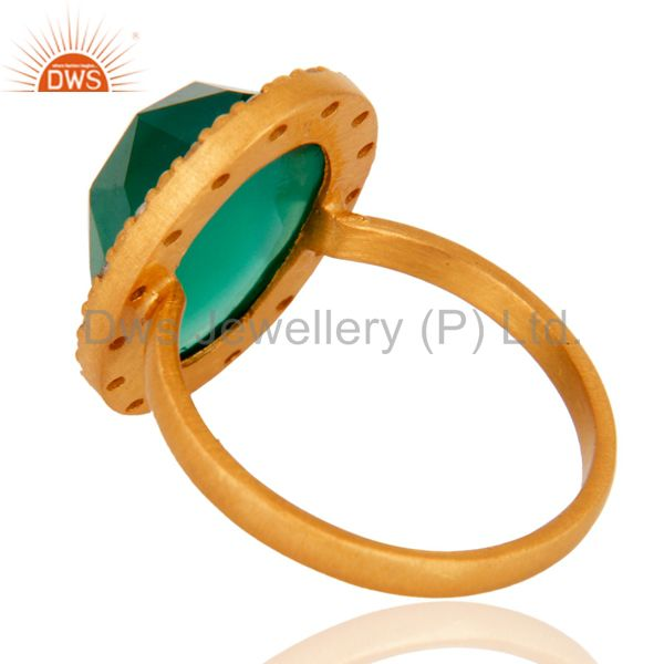 Suppliers 24k Yellow Gold Plated Green Onyx and White Topaz Sterling SIlver Cocktail Ring